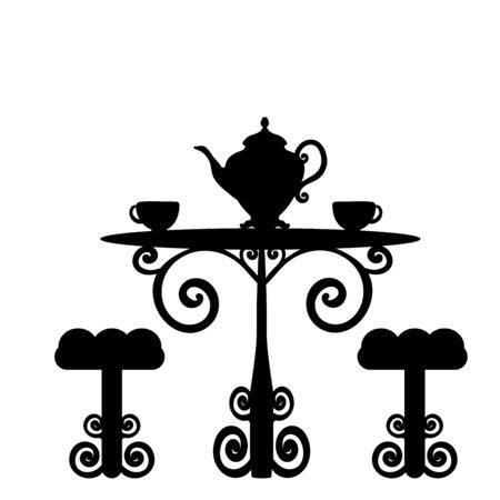 Silhouette vintage table two chairs and teapot two cups tea.