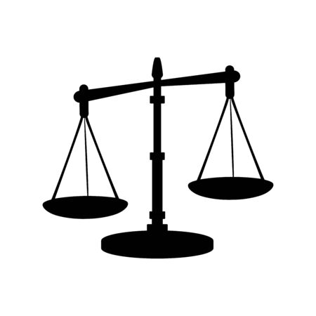 Silhouette icon of justice scales. Vector illustration Ilustração
