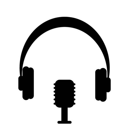 Silhouette image Microphone with headphones. Vector illustration Ilustração