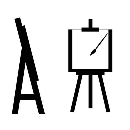 Silhouette image easel or painting art board with white canvas Çizim