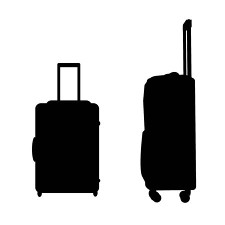 Suitcases silhouette icon travel baggage