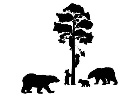 Bear family. Silhouettes of animals