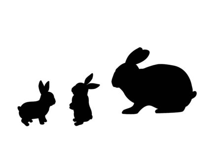 Rabbit family. Silhouettes of animals