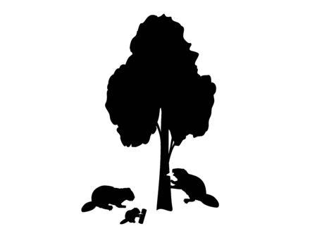 Beaver is nibbling tree beaver family Ilustração