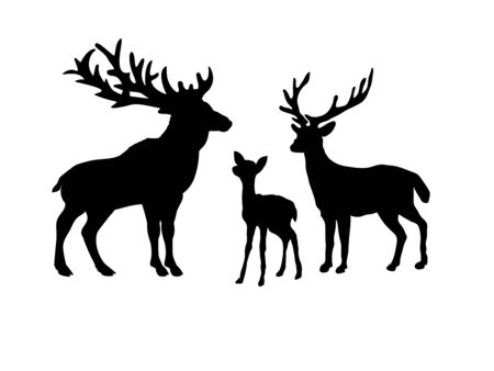 Deer family. Silhouettes of animals 矢量图像