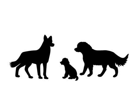 Dog family. Silhouettes of pet animals Ilustração