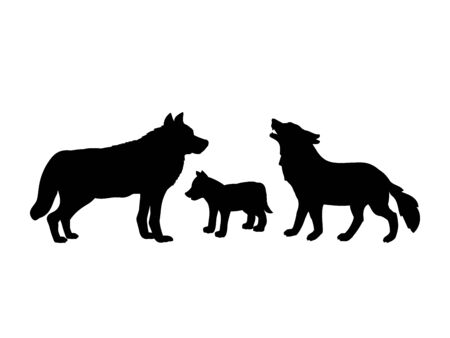 Family of wolves. Silhouettes of animals