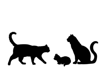 Cat family. Silhouettes of pet animals