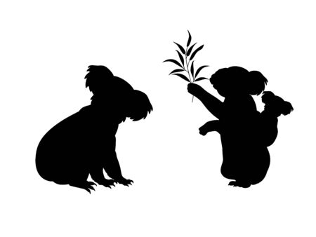 Koala family. Silhouettes of animals