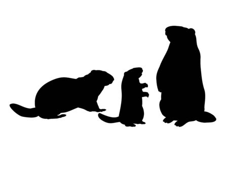 Groundhog family. Silhouettes rodent of animals