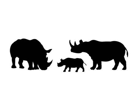 Rhino family. Rhinoceros silhouettes of animals Ilustração
