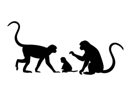 Monkey family. Silhouettes of animals Ilustração