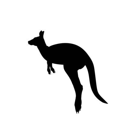 Silhouette of kangaroo. Animal australian wildlife. Vector illustrator