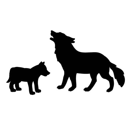 Silhouette of wolf and little wolf. Vector illustrator.