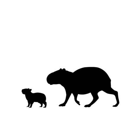 Silhouette of capybara and young little capybara. Vector illustrator