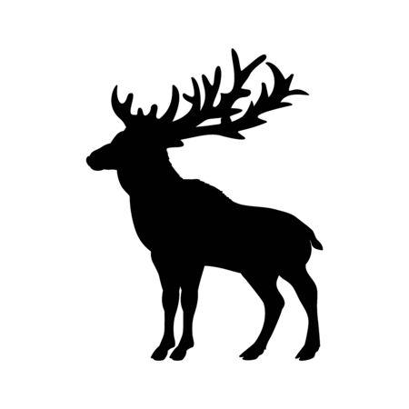 Silhouette of deer. Animal forest wildlife. Vector illustrator Ilustração