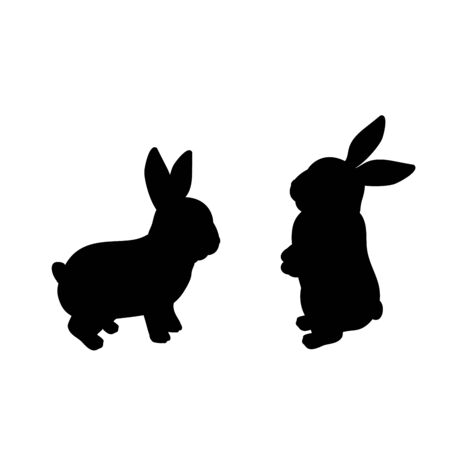 Silhouette of two little rabbits. Cute young animals. Vector illustrator