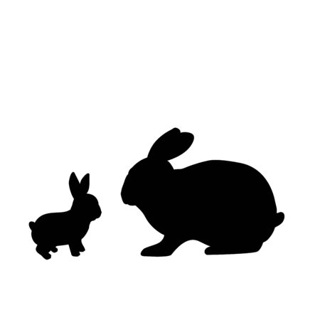 Silhouette of rabbit and young little rabbit. Vector illustrator