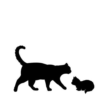 Silhouette of cat and little kitten. Pet animals. Vector illustrator Ilustração
