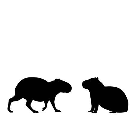 Silhouette of two capybaras. Capybara family. Vector illustrator