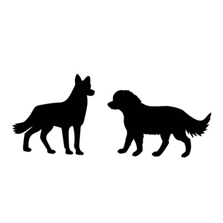 Silhouette of two dogs. Family of dogs. Vector illustrator