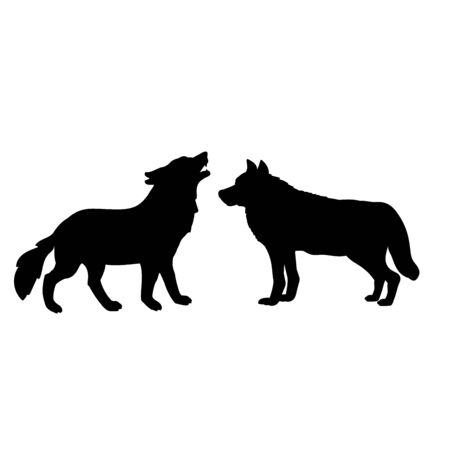 Silhouette of two wolves. The wolf family. Vector illustrator