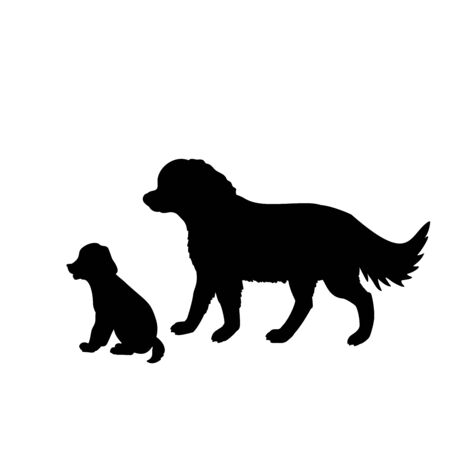 Silhouette of dog and little puppy. Family of dogs. Vector illustrator