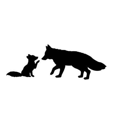 Silhouette of fox and little fox. Vector illustrator
