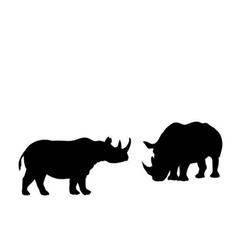 Silhouette of two rhino. Rhino family. Vector illustrator