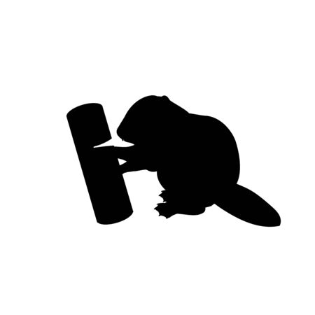 Silhouette of little cub baby beaver gnawing log. Vector illustrator