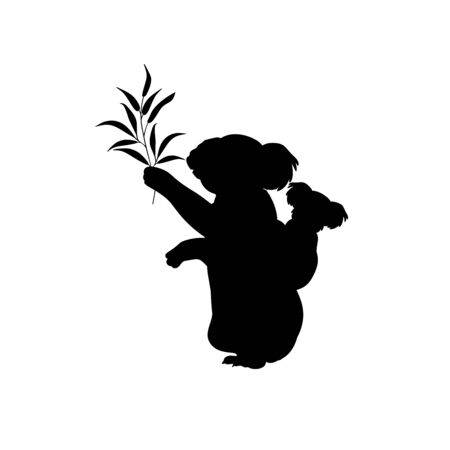 Silhouette of koala and young little koala. Vector illustrator