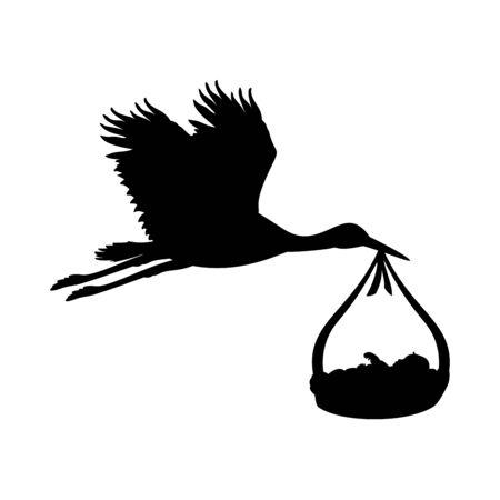 Stork symbol of the birth of child. Vector illustrator