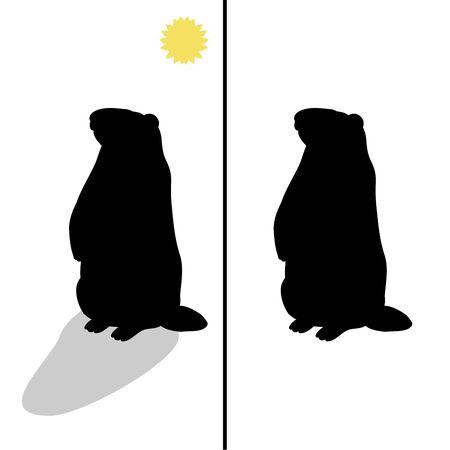 Holiday Groundhog Day. Falling shadow prediction of spring. Vector illustrator