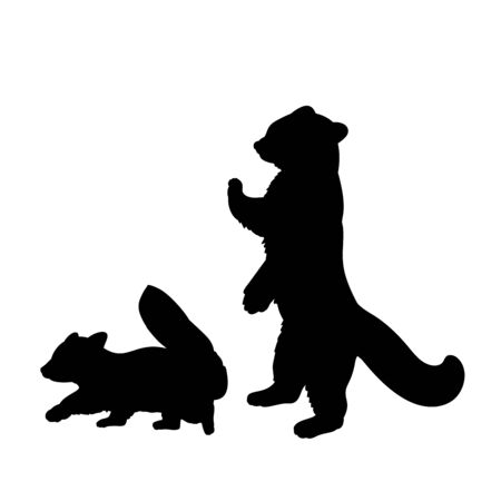 Silhouette of red Panda and young little red Panda. Vector illustrator Çizim