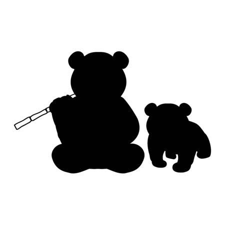 Silhouette of Panda and young little Panda Vector illustrator Çizim
