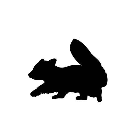 Silhouette of little red Panda. Cute young animal. Vector illustrator Çizim