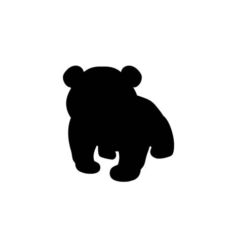 Silhouette of little Panda. Cute young animal. Vector illustrator