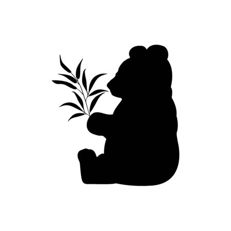 Panda silhouette with eucalyptus. Rare protected animal. Vector illustrator