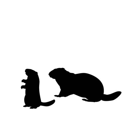 Silhouette Groundhog and young little groundhog. Vector illustrator