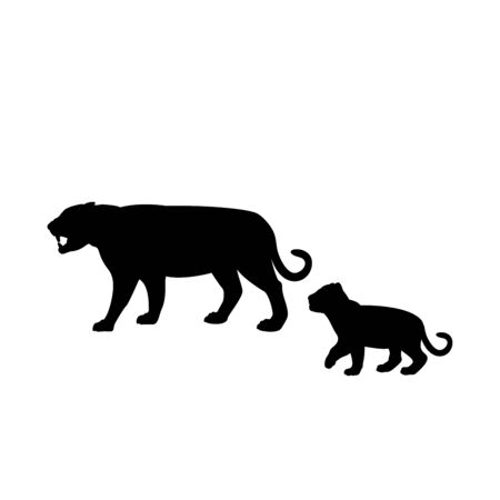 Silhouette of tiger and young tiger cub. Vector illustrator