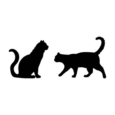 Silhouette of two cats. Pet cat family.