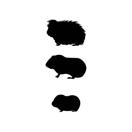 Guinea pig family. Silhouettes of pet animals. Vector illustrator Иллюстрация