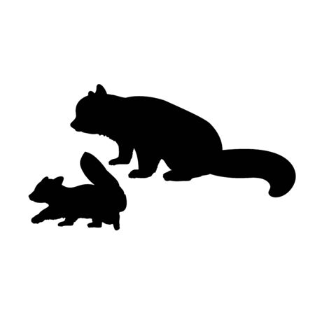 Silhouette of red Panda and young little red Panda. Vector illustrator Stock Illustratie
