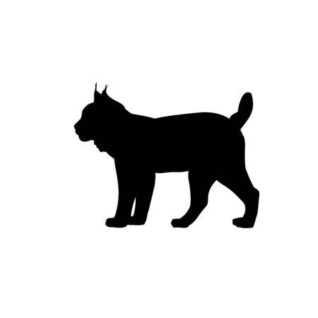 Lynx silhouette animals feline family. Vector illustrator