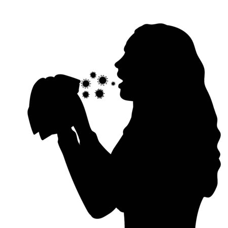 Silhouette woman sneezes in handkerchief