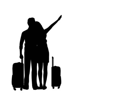 Silhouettes of lovers men and women dream to travel. Illustration graphics icon