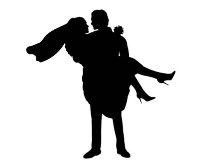 Silhouette of the groom holds the bride in his arms. 일러스트