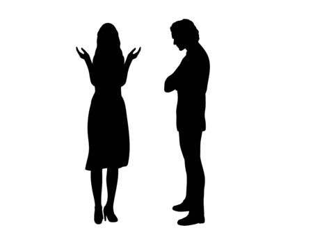 Silhouette of a woman does not understand man