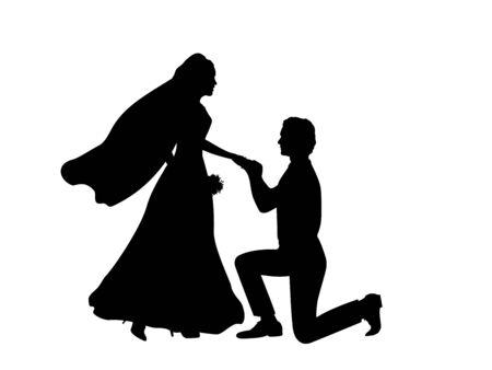 Silhouette of groom kneeling puts ring on the bride