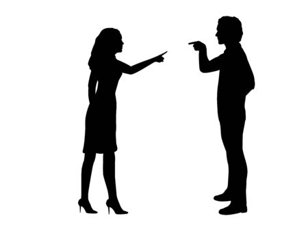 Silhouette man and woman blame each other